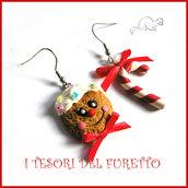 """Orecchini Natale """" Gingerbread faccino bastoncino di zucchero """" omino di pan di zenzero pan di zenzero fimo cernit premo idea regalo bambina personalizzabile con clip"""