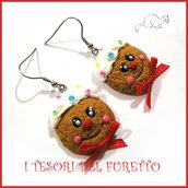 """Orecchini Natale """" Pandizenzero faccino Gingerbread omino  """" dolcetti fimo cernit premo kawaii idea regalo bambina donna clip  ragazza"""