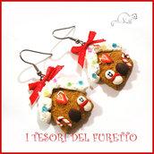 """Orecchini Natale """" Pandizenzero casetta Gingerbread omino  """" dolcetti fimo cernit premo kawaii idea regalo bambina donna clip  ragazza"""