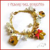 """Bracciale Natale """" Pandizenzero  casetta  """" fmo cernit idea regalo donna ragazza bijoux oro rosso verde  natale"""