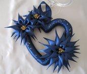 Ghirlanda Cuore Fuori Porta Addobbi di Natale con fiori blu