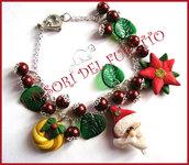 """Bracciale Natale  """"Fufuclassic Classic Babbo Natale  + foglie verdi e perle rosse"""" Fimo cernit stella di Natale idea regalo"""