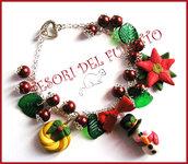 """Bracciale Natale  """"Fufuclassic Classic Omino di neve  + foglie verdi e perle rosse"""" Fimo cernit stella di Natale idea regalo"""