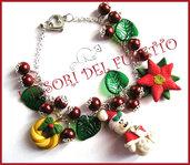 """Bracciale Natale  """"Fufuclassic Classic Orsetto  di neve  + foglie verdi e perle rosse"""" Fimo cernit stella di Natale idea regalo"""