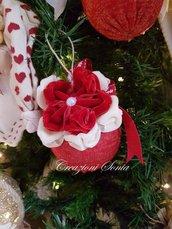 *_Palline Natale con fiori di velluto_*
