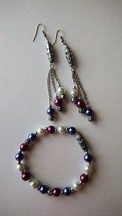 Parure orecchini e bracciale con perle