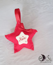 Addobbo natalizio stella in tessuto con stella luminosa personalizzata con nome