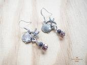 Orecchini pendenti argento con stella marina e conchiglia, monachella nickel free
