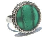 anello cammeo agata verde
