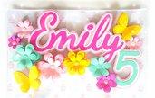 cake topper fiori e farfalle glitterato personalizzato