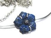 collier fiore lapislazzuli blu