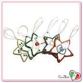 Set 6 stelle bianche all'uncinetto da appendere all'albero di Natale