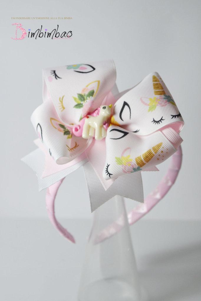 cerchietto bambina unicorno gros-grain con fiocco corona coroncina frontino