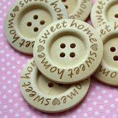 Sweet Home, set di 4 bottoni in legno 60 mm 4 fori,  pulsanti di grandi dimensioni per progetti fai da te.