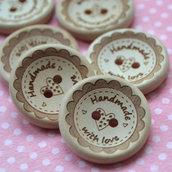 Fatto A Mano con amore, Bottoni di Legno Naturale 25mm  per progetti di cucito.