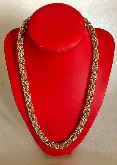 Collana Girocollo Color Oro e Argento con Maglie Bizantine Lavorata con la Tecnica Chainmaille