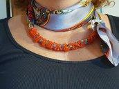 Foulard gioiello (collana e cintura) in seta pura