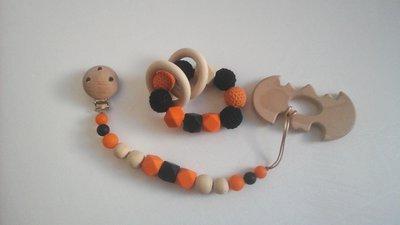 """Set portaciuccio e giochino """"Halloween"""" in arancio e nero"""