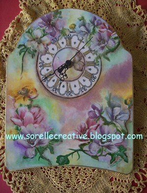 orologio decoupage pittorico fiori