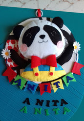 fiocco nascita - piccolo panda - birth wreath - bear
