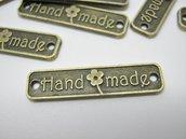 Fatto a Mano, etichette ,tag, connettori  di metallo  color bronzo 25mm.