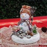 Pupazzo di neve con la scopa