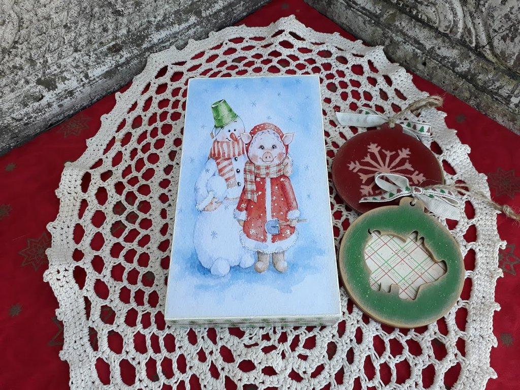 Decorazioni In Legno Per Albero Di Natale : Scatola con 2 decorazioni in legno per albero di natale feste