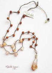 collana crochet stile mala con rudraksha, giada gialla (serpentina) e citrino