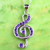 Collana ciondolo chiave di violino con autentiche ametiste e topazi bianchi chakra cristalloterapia