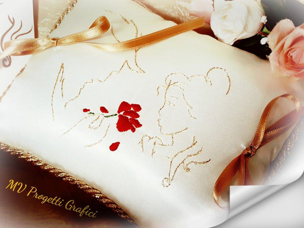 Partecipazioni Matrimonio La Bella E La Bestia.Cuscino Portafedi Bella E La Bestia Feste Matrimonio Di Prog