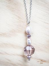 Collana con perle rosa di acqua dolce e perline viola, catena in acciaio inossidabile nickel free