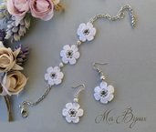 Orecchini e bracciale, moda, pizzo uncinetto, idea regalo donna ragazza fiore bianco