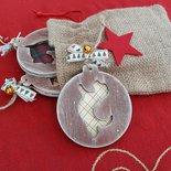Set di 3 decorazioni di Natale in legno