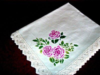 tovaglia lino da te'   con rose
