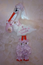 Fiocco nascita cicogna rosa