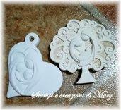 Multi stampo cuore e albero Sacra Famiglia in gomma siliconica da colata