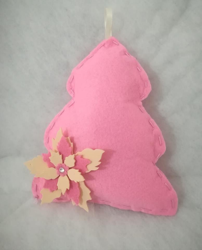 Albero di natale rosa in feltro con stella Fiore . Idea regalo bimbi Nascita Feste Personalizzabile