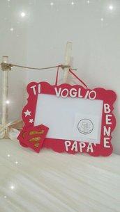 Cornici porta foto Festa del papà.Idea regalo Compleanno. Rosso. Personalizzabile
