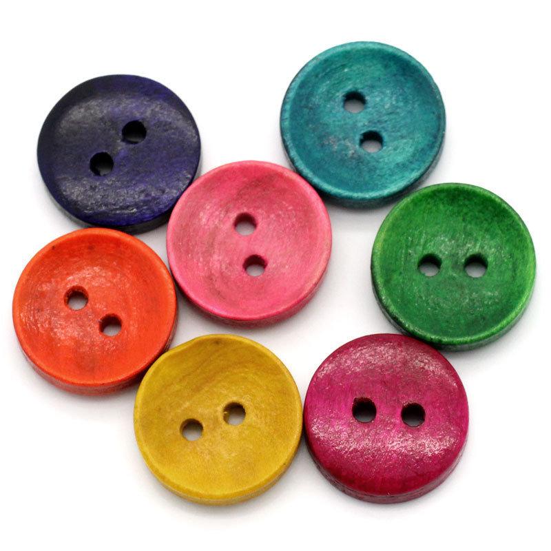 1* 100 Bottoni rotondi in Legno a 2 Fori con Fiori 1,5 cm