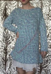 Maglione azzurro screziato fatto a mano-UnicOrn
