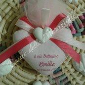 bomboniera battesimo bimba nascita cuore profumato con gessetto e nome