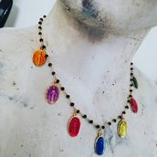 Collana rosario con medagliette sacre