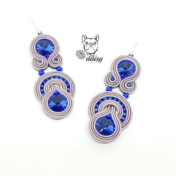 orecchini soutache lunghi blu, grigio e rosa - orecchini pendenti