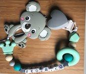 Portaciuccio e mordicchiotto con koala personalizzabile