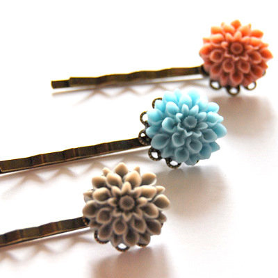 Three Flower Bobby Pins