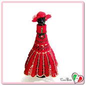 Vestito rosso per bottiglia di Champagne all'uncinetto