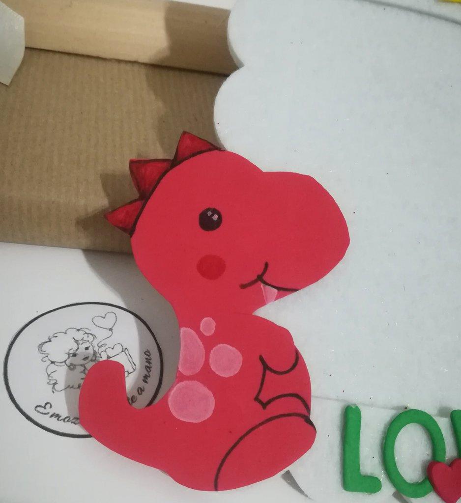 Portafoto bimbi draghetto rosso feltro. Idee regalo bambini foto