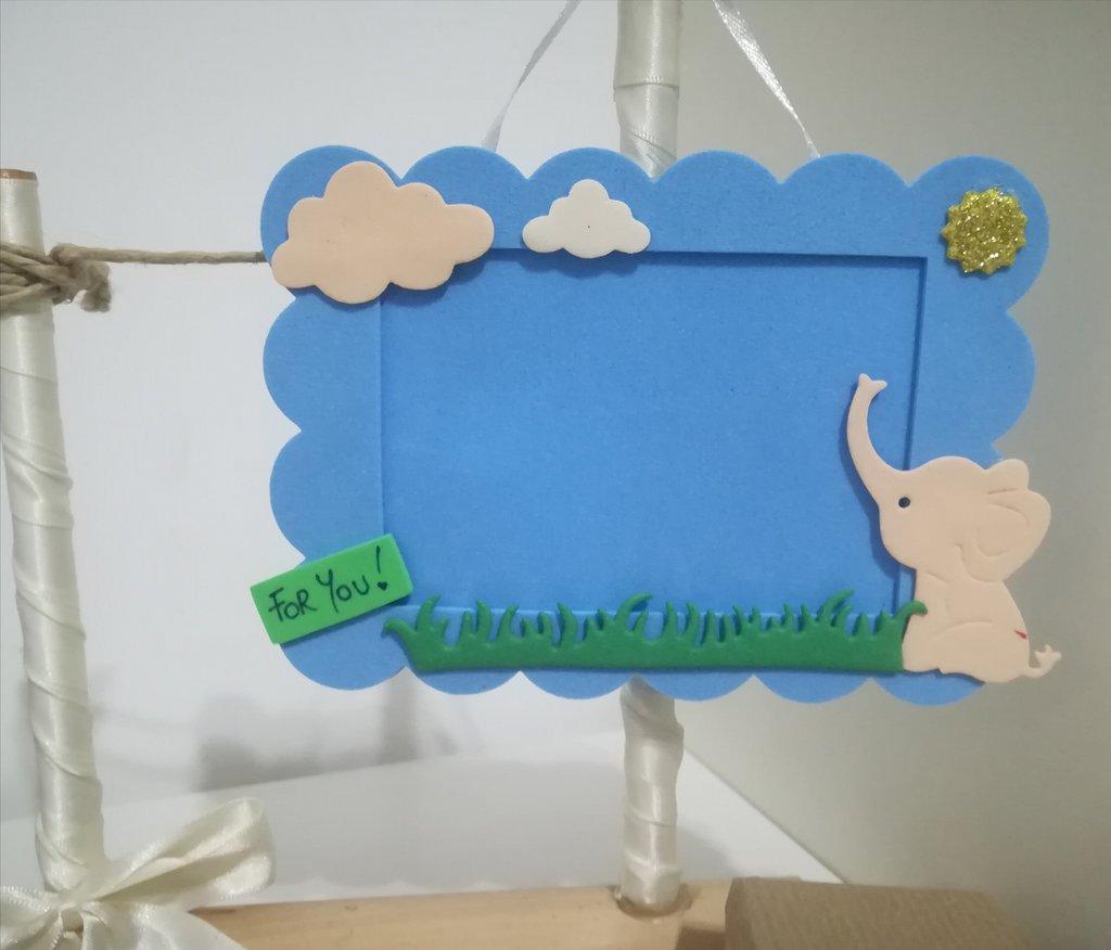 Porta foto bimbi elefante stelle nuvole Personalizzabili con nome.Idea regalo nascita battesimo. Gadget dopo festa.