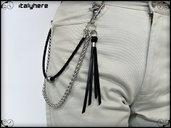 Catena  per pantaloni con cordoncino e nappa in cuoio, cm.55, elegante idea regalo