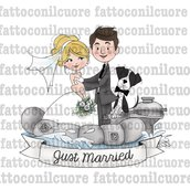 Illustrazione sposi idea regalo per i propri ospiti